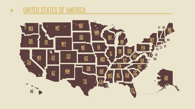 Detailed vintage map of the United States of America split into individual states with the abbreviations 50 states, vector illustration