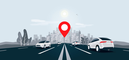 Photo sur Toile Cartoon voitures Traffic cars on highway to city skyline landscape motorway panoramic horizon view. Vector cartoon illustration with vehicle on street driving on infinite road with navigation map location pointer.