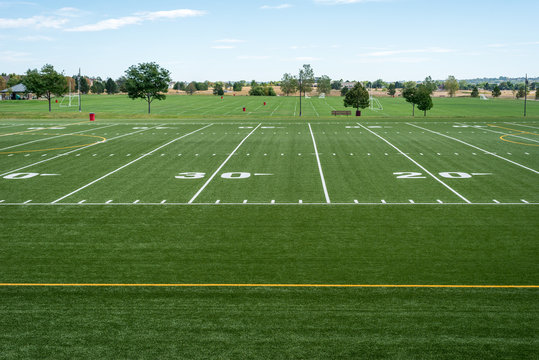 view of high school football and soccer fields