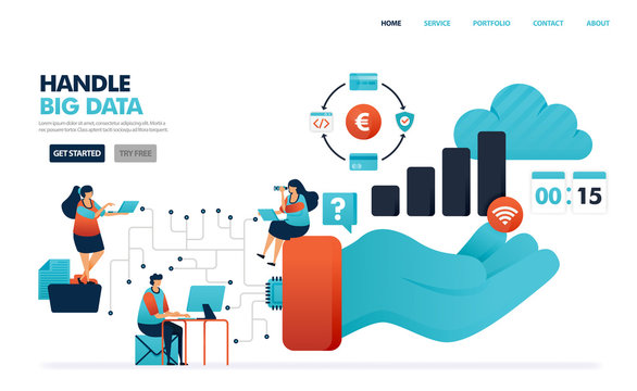 Handle big data in communication system of user and service provider. Saving  history of financial activity in data chip. Hand holding a statistics barchart. Illustration for website, mobile, poster