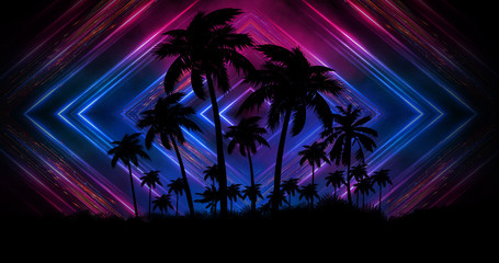 Futuristic night landscape with neon abstract sunset. Coconut trees silhouette on the beach at night. Neon palm tree abstract light. Wall mural