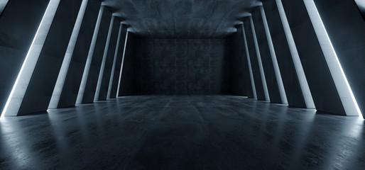 Estores personalizados con tu foto Huge Big Dark Hall Garage Tunnel Corridor Car Empty Studio Background White Windows Light Glow Cement Asphalt Concrete Grunge Dark Tall 3D Rendering