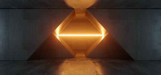 Alien Sci Fi Futuristic Virtual Cement Concrete Triangle Garage Hall Tunnel Corridor Orange Vibrant Beam Neon Laser Glow Empty Background Reflections 3D Rendering