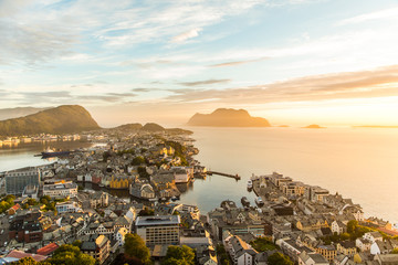 Cityscape of Alesund town at sunset. Norway