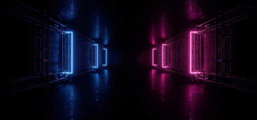 Dark Neon Construction Blue Purple Glowing Futuristic Sci Fi Stage Show Garage Rough Grunge Concrete Night Tunnel Corridor Empty Virtual Underground Background 3D Rendering