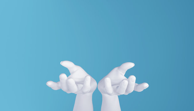 White hands on a blue background. Hands outstretched toward the camera. 3D rendering.