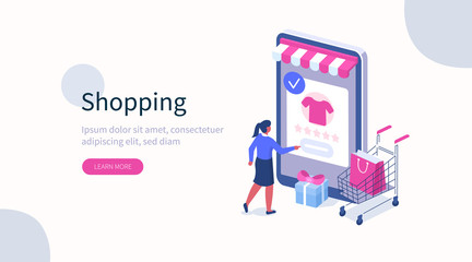 Woman Choosing Clothes in Online Store and Making Order. Female Character Shopping in Mobile App. E-Commerce and Online Delivery Concept. Flat Isometric Vector Illustration.