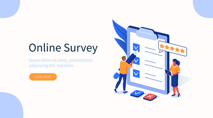 People Characters Filling Test in Customer Survey Form. Woman and Man putting Check Mark on Checklist. Customer Experiences and Satisfaction Concept. Flat Isometric Vector Illustration.