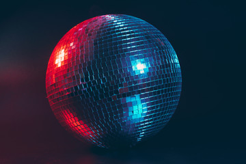 Zelfklevend Fotobehang Bol Big disco ball close up on dark background