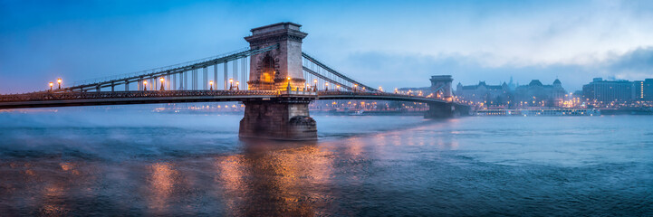 Chain Bridge panorama in Budapest, Hungary