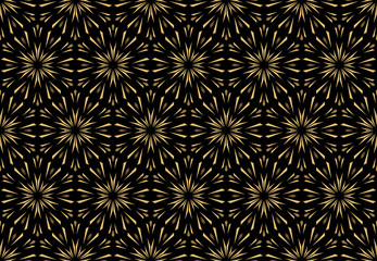 Foto op Canvas Geometrisch Abstract geometric pattern with lines, snowflakes. A seamless vector background. Gold and black texture. Graphic modern pattern