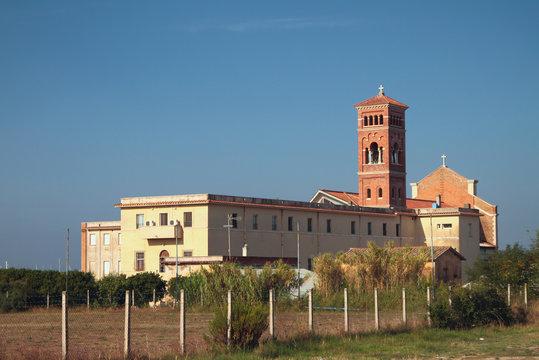 Desert and Santa Maria Goretti Church. Nettuno, Lazio, Italy