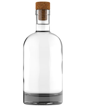 Clear White Glass Whiskey, Vodka, Gin, Liquor, Ticture, Moonshine or Tequila Bottle with Liquid. 750, 700, 1000 ml (70, 75, 100 cl) or 1, 0.7, 0.75 L of volume. 3D Illustration Isolated on White.