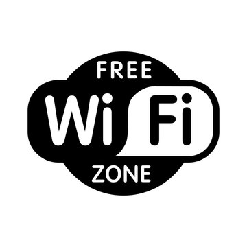 Free wifi zone black icon. Isolated wi-fi black vector free hotspot illustration on white background