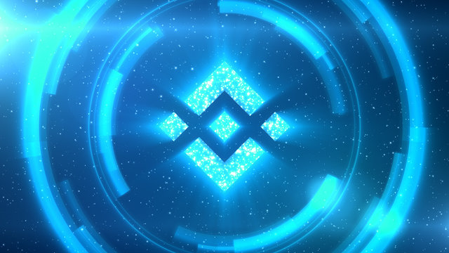 Blue Binance Coin symbol on space background with HUD elements.