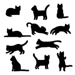 Isolated Cats on the white background. Cats silhouettes. Vector EPS 10.