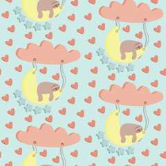 seamless pattern, sloth sleeping on the moon, with stars, clouds and heart shapes