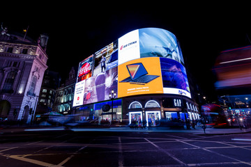 LONDON - NOVEMBER 14, 2018: Piccadilly Circus at night in London