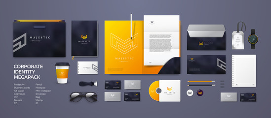 Corporate branding identity design. Stationery mockup vector megapack set. Template for industrial or technical company. Folder and A4 letter, visiting card and envelope. Triangular geometric logo.