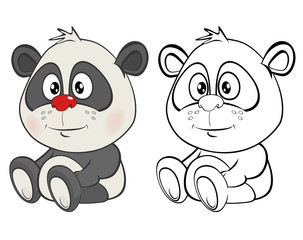 Photo sur Toile Chambre bébé Vector Illustration of a Cute Cartoon Character Panda for you Design and Computer Game. Coloring Book Outline Set