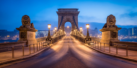 Printed roller blinds Budapest Historic Chain Bridge in Budapest in winter