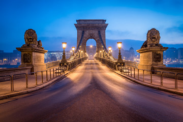 Historic Chain Bridge in Budapest at night