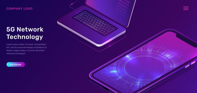 5G network technology, isometric concept vector illustration. Open laptop, mobile phone screen with glowing neon digital circle isolated on ultraviolet background. High speed internet web page