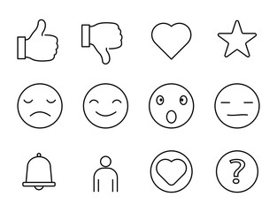 social media line icons, set of icons for social media, like, dislike, love, star and more, smile emoticon and more, vector.