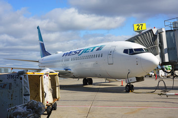 HALIFAX, NOVA SCOTIA -5 OCT 2019- View of a plane from Canadian airline WestJet (WS) at the Halifax Stanfield International Airport (YHZ) in Halifax, Nova Scotia, Canada.