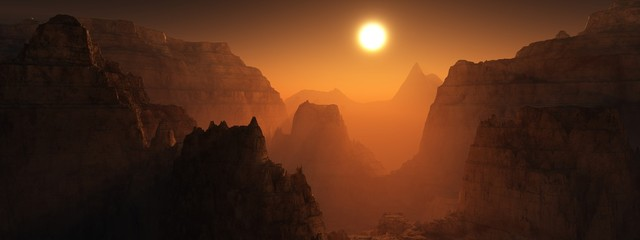 Photo sur Toile Marron chocolat Canyon of Mars at sunset. Alien landscape. 3d rendering.