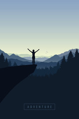 girl with raised arms on a cliff in blue forest mountain vector illustration EPS10