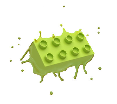 3d rendering of green lego piece melting isolated on white background