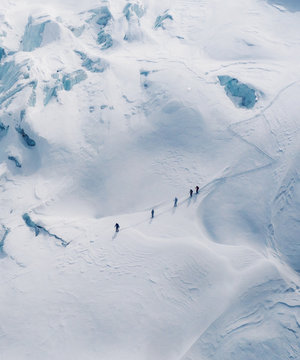 Aerial view of mountaineers