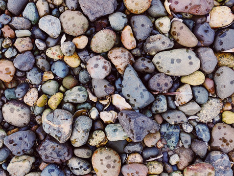 Top angle view of pebbles