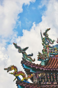 Close up of Chinese temple roof, Taiwan