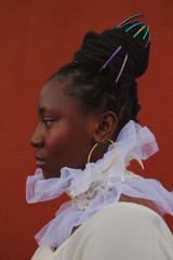 Profile of woman wearing ornate hairstyle and chiffon collar