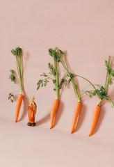 Religious icon in row of carrots