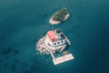 Aerial view of lighthouse in sea