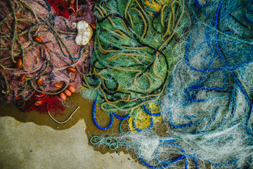 Overhead view of fishing net