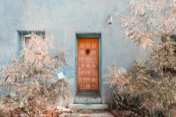 Exterior of closed wooden door