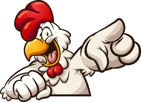 Happy cartoon chicken pointing at camera clip art. Vector illustration with simple gradients. All in a single layer.