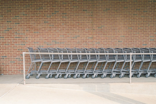 Supermarket carts in row