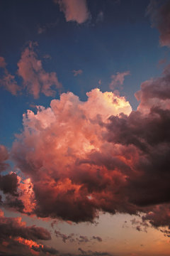 Red clouds during sunset