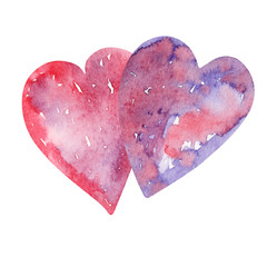 Watercolor background picture Fantasy hearts
