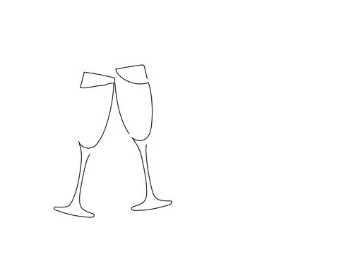 Champagne glasses isolated line drawing, vector illustration design. Christmas collection.