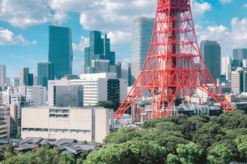 Tokyo Tower in city