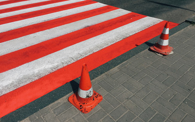 Image of crosswalk in red and white