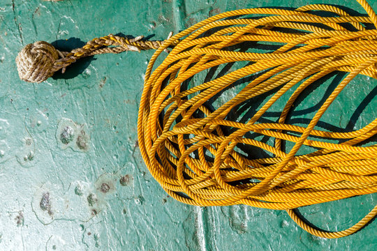 Monkey fist knot on deck of a construction bage at oil field