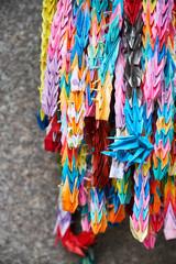 Close up of paper cranes