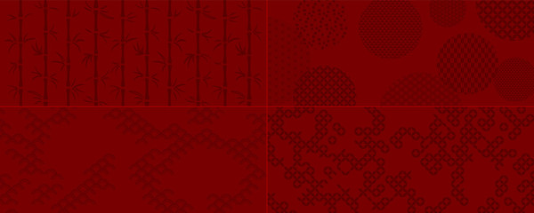 Set of red backgrounds in oriental style with bamboo, pattern textures. Vector illustration. Concept Chinese New Year, Mid Autumn holiday banner, print, packaging, wrapping paper. Flat style design.